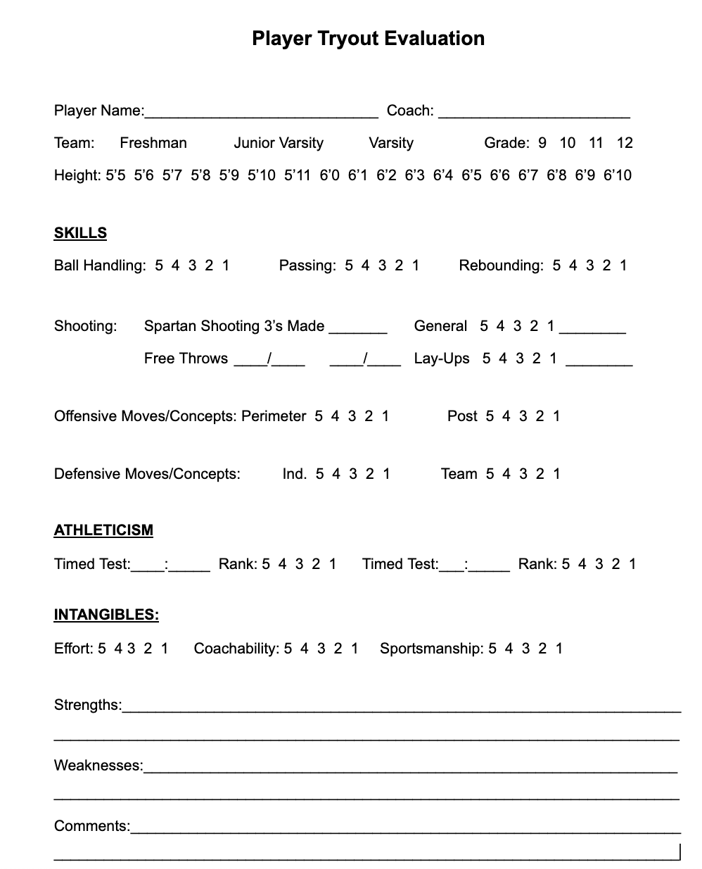 Individual Player Evaluation Tryout Form