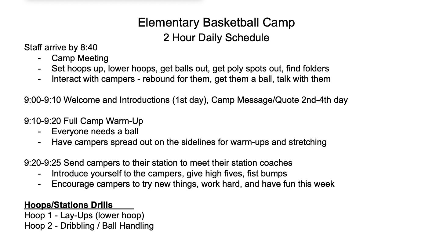 2 Hour Camp Schedule